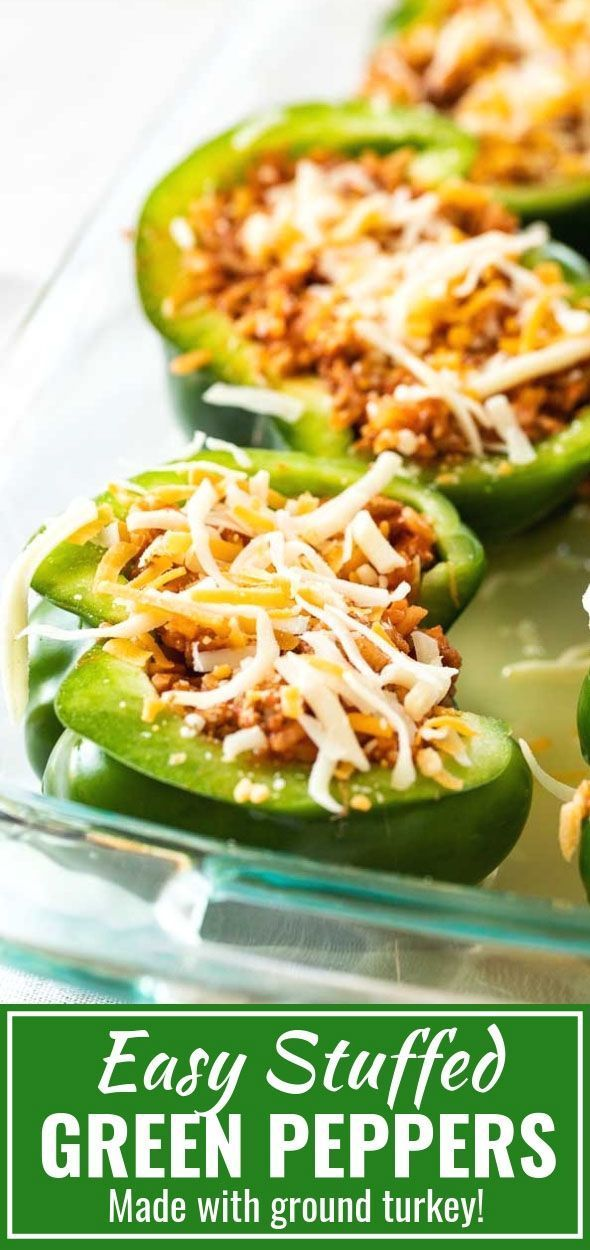 Stuffed Green Peppers Are Filled With Ground Turkey Rice And Tomato Sauce Then Topped With Chees Stuffed Peppers Stuffed Peppers Turkey Green Pepper Recipes