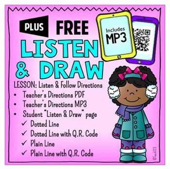 """Listen and Draw - Listening Lesson or Listening Center with Q R Code or MP3. Perfect addition to Daily 5 or Reading Stations. Great way to assess your students' listening skills. This is a sample of Listen & Draw Plus. The """"PLUS"""" files include MP3, Q.R."""
