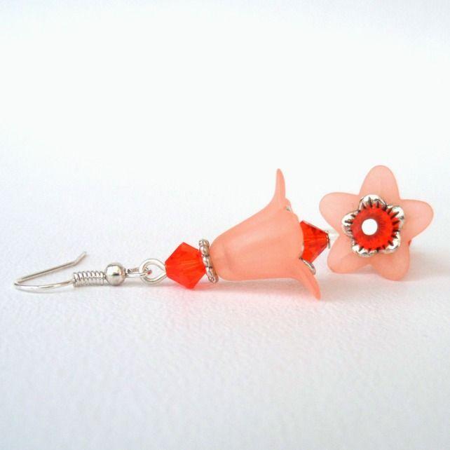 Orange & peach flower earrings