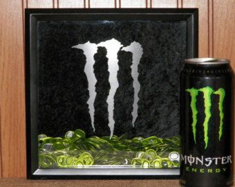 Monster Energy Drink Tab Collector / Holder / Keeper - Etched Logo