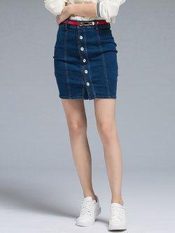 Blue Casual Plain Sheath Mini #Skirt