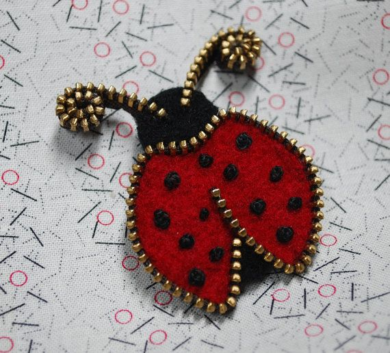 Zipper/Recycled Felted Wool Sweater Zipper Brooch/Zipper Pin- Red Ladybug via Etsy