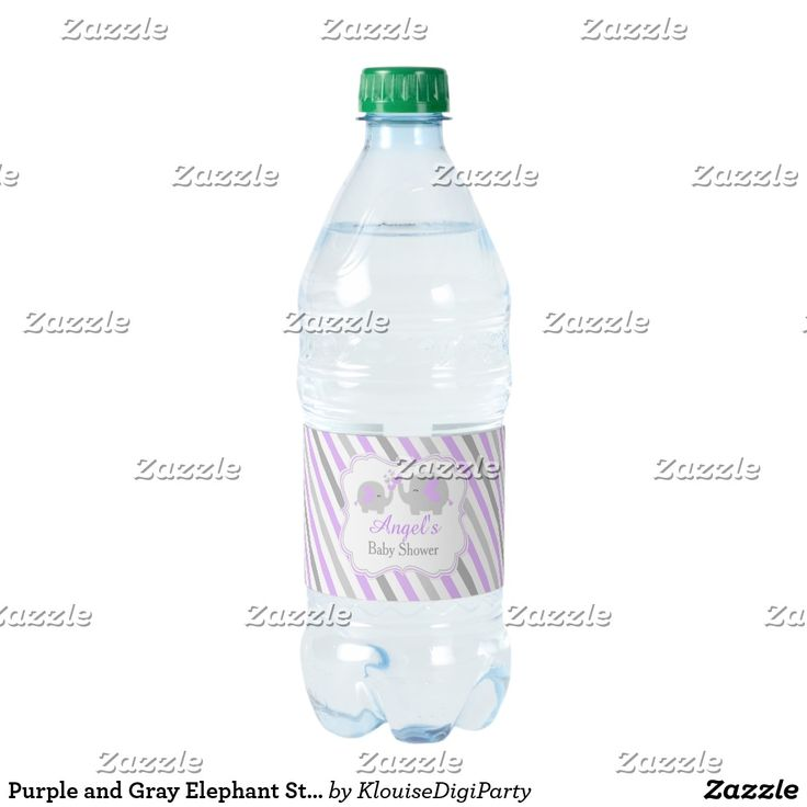 Purple and Gray Elephant Stripes Baby Shower Water Bottle Label