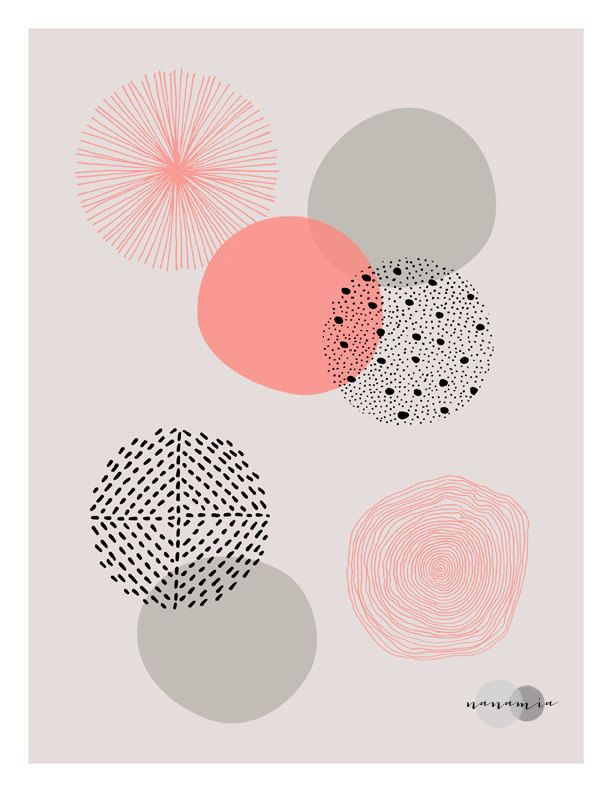 Koraal Print geometrische Wall Art Pastel Print door nanamiadesign