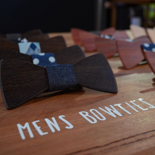 Our Classic Wooden Bowties on display at Finders Keepers