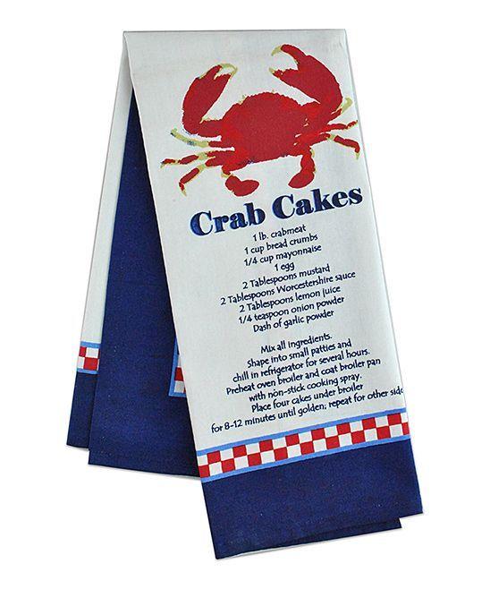 Crab Cake Recipe Dish Towel - Set of Two