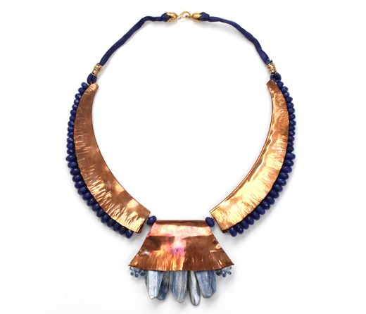 Sculptural bronze and kyanite necklace with dyed silk and jade. One of a kind. Gold plated clasp