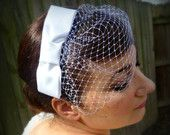 Bridal hair piece - Handmade satin bow with veil - bow fascinator - The Betty by Lucy2s, Raleigh, NC