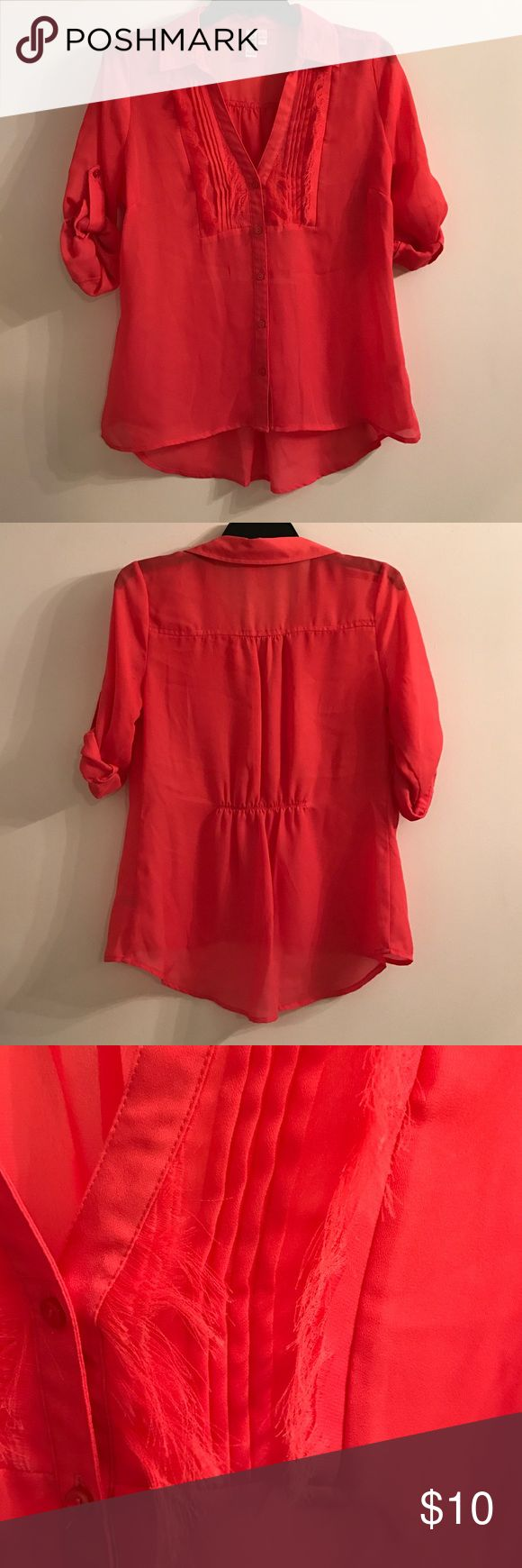 Medium Coral Blouse Sheer coral blouse with fringe detail. Worn once! Tops Blouses