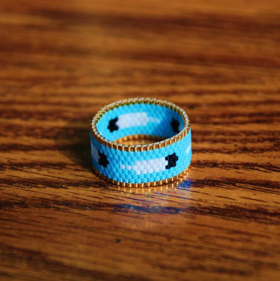 Eagle feather ring beadwoven - Hey, I found this really awesome Etsy listing at https://www.etsy.com/listing/220439760/eagle-feather-ring-peyote-stitch-ring
