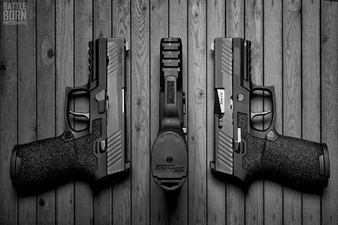 Sweet picture of our basic P320 stippled grip modules for sale at www.revolution-concepts.com