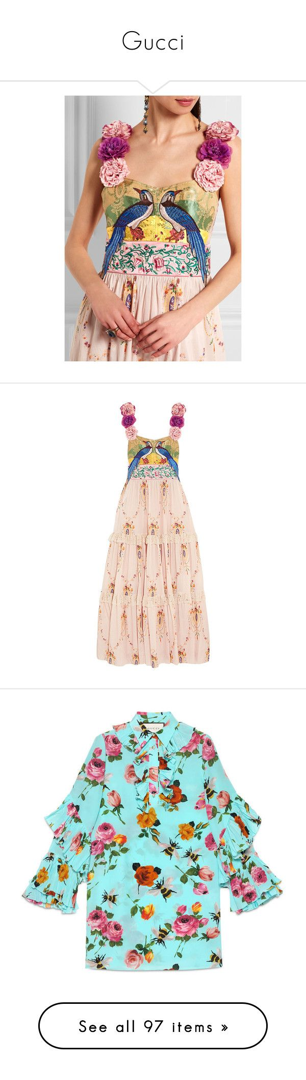 """""""Gucci"""" by mari-sv ❤ liked on Polyvore featuring dresses, multi colored maxi dress, silk maxi dress, pastel maxi dress, multi color dress, red maxi dress, gucci, maxi dress, white and white jacquard dress"""