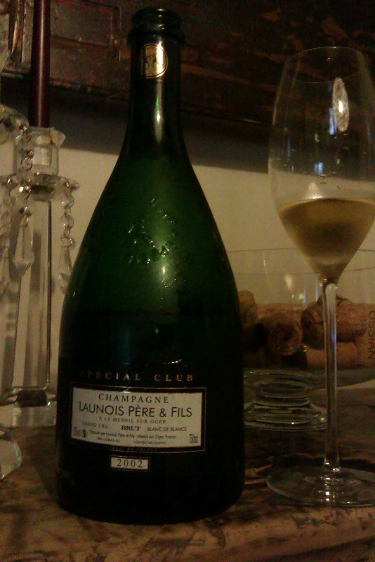 Champagne Launois Pére & Fils Special Club Brut Blanc de Blancs GC 2002. From Le Mesnil sur Oger, this 100% chardonnay champagne is slightly dry and very mineral. Excellent.