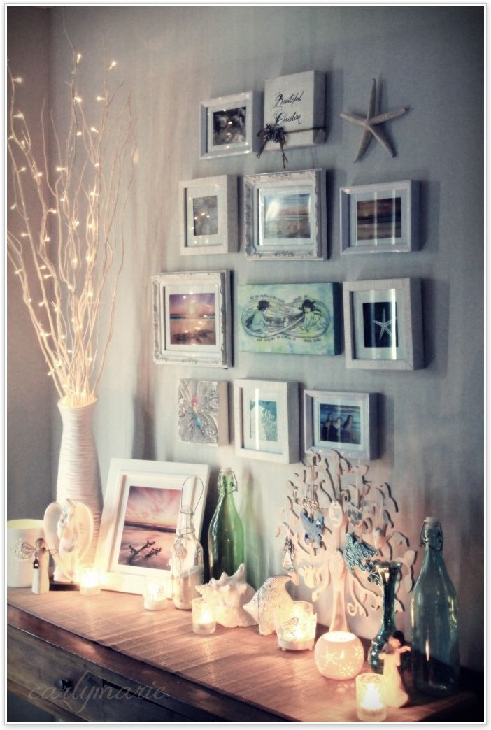 Beach House Decor: Photo & Seashell Display