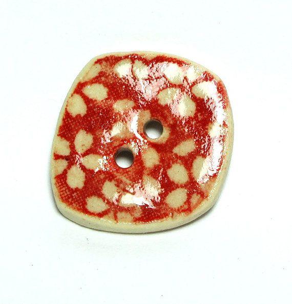 MINI Handmade Ceramic Stoneware Buttons Red by lindabelinda