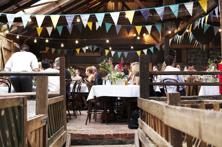 Simple paper bunting looks effective in the barn.