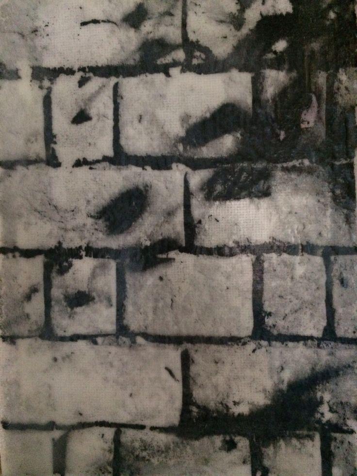Jo Hannah. Tree 9. Tree shadow on wall. Encaustic image transfer on canvas.