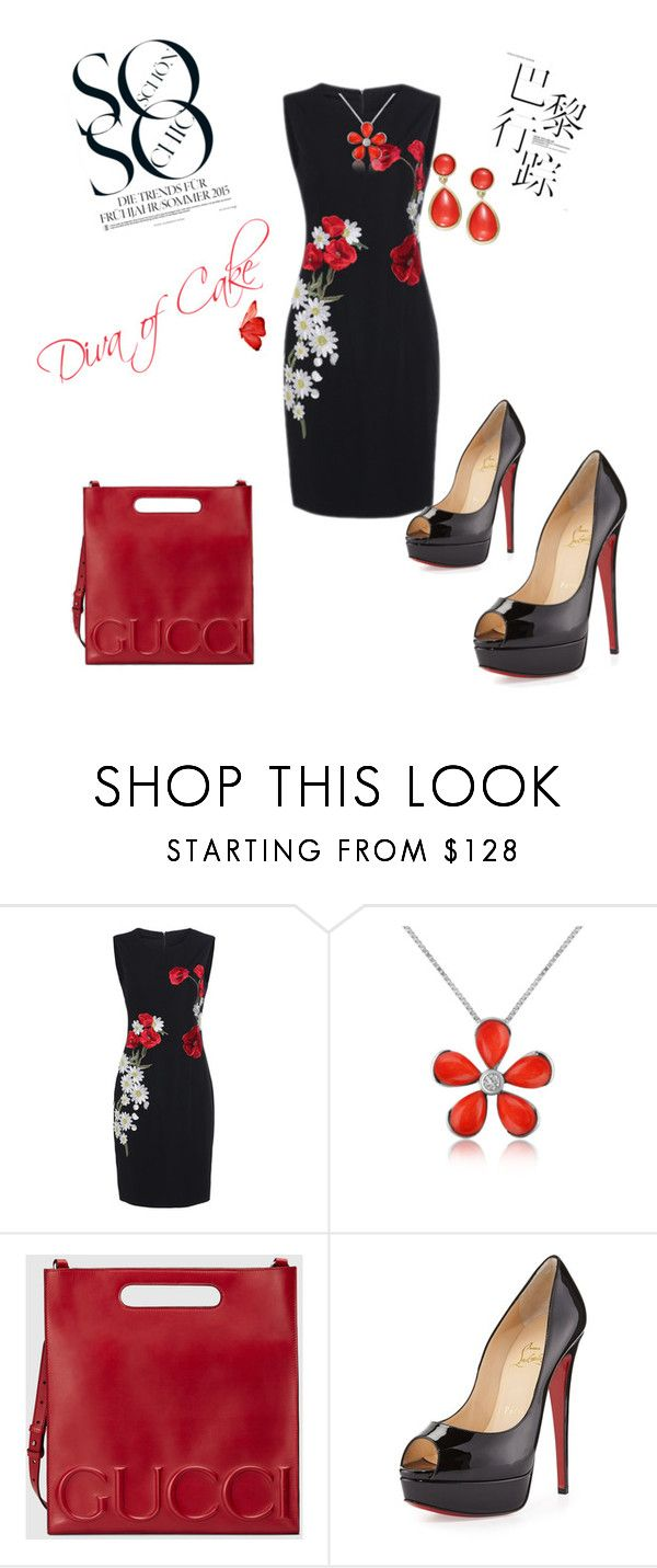 """Floral dress  black and red outfit"" by Diva of Cake  featuring Del Gatto, Gucci, Christian Louboutin and Lauren Ralph Lauren"