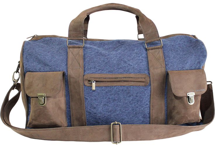 LEATHER CANVAS TRAVEL BAG  Going away for the weekend or any other journey, this beautiful all Italian leather/canavs bag can find a use for any lifestyle. Whether it's a long weekend away or an overnight stay this is the ideal companion.  With its compact, roomy body and sturdy yet lightweight structure it also makes perfect hand luggage in order to any hatbox airplane measures. Entirely hand crafted in sumptuous calfskin leather & canvas with flawless stitching and detailing. Contrasting…