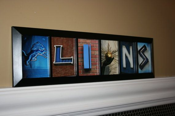 Detroit Lions, in local Detroit photos, HANDMADE, black painted wood on Etsy, $84.00