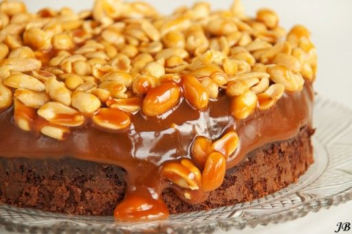 Brownie cake with caramel and peanuts