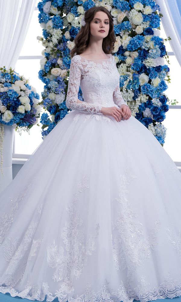 [251.60] Wonderful Tulle Scoop Neckline Natural Waisltine Ball Gown Wedding Dress With Lace Appliques & Beadings