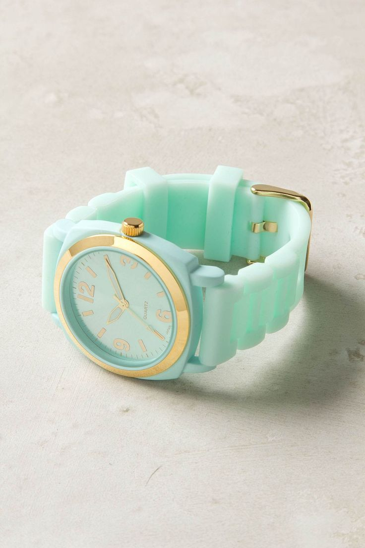 anthropologie mint watch: Like Watches, Mintgreen, Mint Green, Mint Gold, Tiffany Blue, Viscid Watches, Mint Color, Gold Watches, Cute Watches
