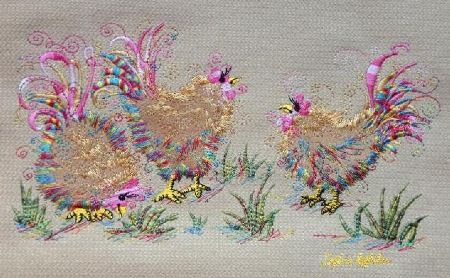 Chicken Trio Embroidery on Country Swirls sweaters www.countryswirls.com