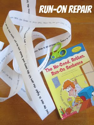 Run-On Repair. Grab some register tape and easy reader book, scissors, and pencil. It's time to teach kids why end punctuation is so important! (And Grammar Tales are AWESOME!)