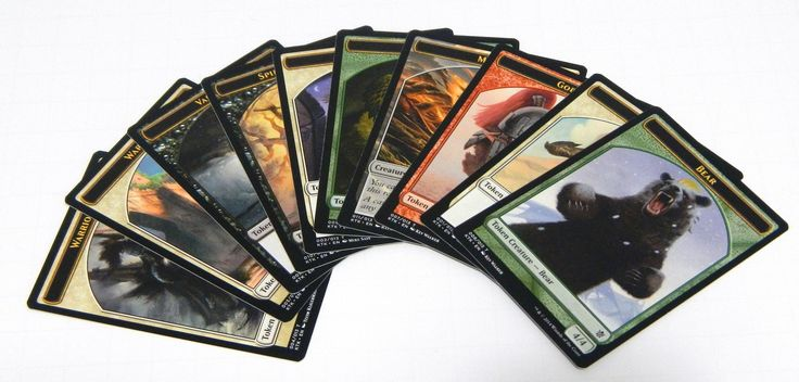 For Sale: 1x Magic The Gathering MTG complete set of 10x promo tokens from the Khans of Tarkir expansion released by Wizard of the Coast in 2014. Set includes 1x Bear, 1x Bird, 1x Goblin, 1x Morph, 1x Snake, 1x Spirit, 1x Spirit Warrior, 1x Vam...
