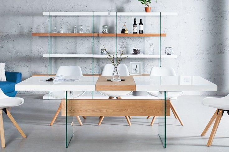 Ausziehbarer Design Esstisch ONYX 160200 cm weiß
