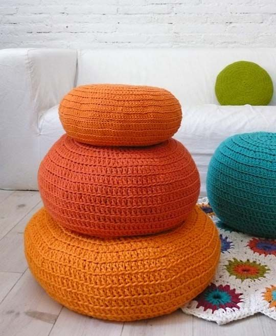 These are going in her room.Cushions Orange, Crochet Floors Cushions, Kids Room, Colors Cushions, Kid Rooms, Crochet Pouffe, Crochet Cushions, Floors Poufs, Floor Cushions