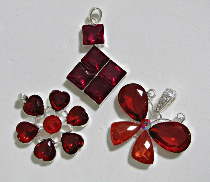 3 RED and PURPLE Pendants~Acrylic Plastic Stones Set in Silvertone Metal NWOT