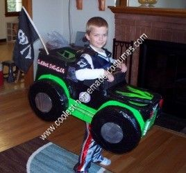 Homemade Grave Digger Monster Truck Halloween Costume: My 6 year old son is obsessed with monster trucks. Grave Digger is his favorite. So, he asked me if I could make him a homemade Grave Digger Monster Truck