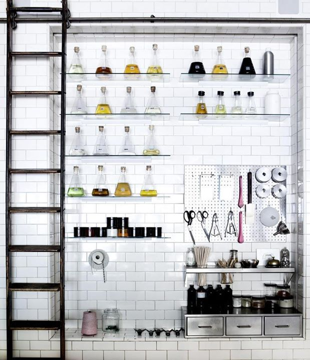 labratory display - I'd love to do this as a kitchen spices and oils display!