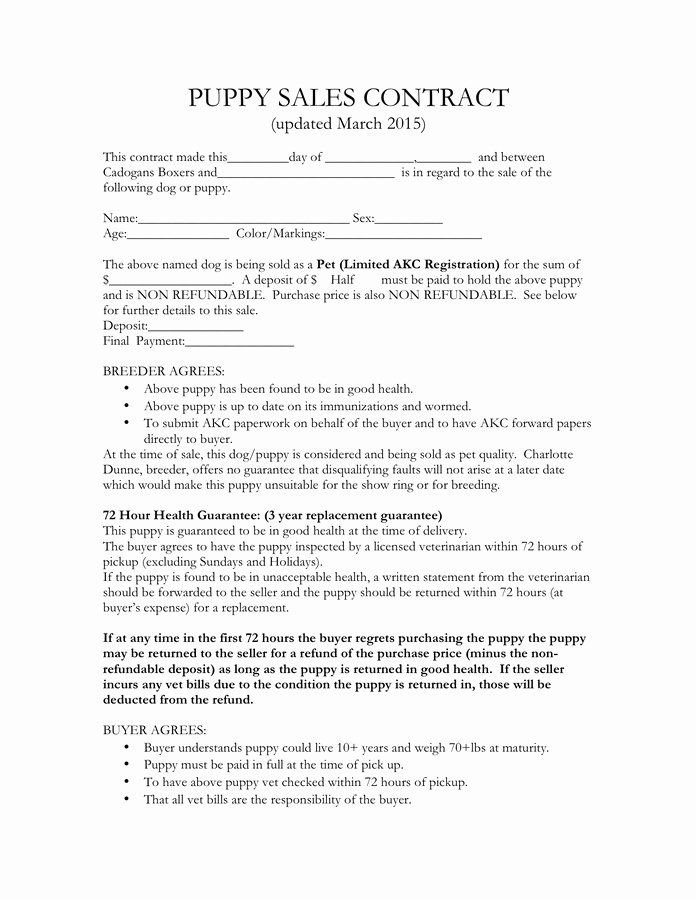 Puppy Sales Contract Template In 2020 Contract Template Wine