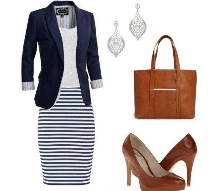 dresscode casual frauen outfit ideen blau uns weiß lässt sich mit braunen accessoires kombinieren