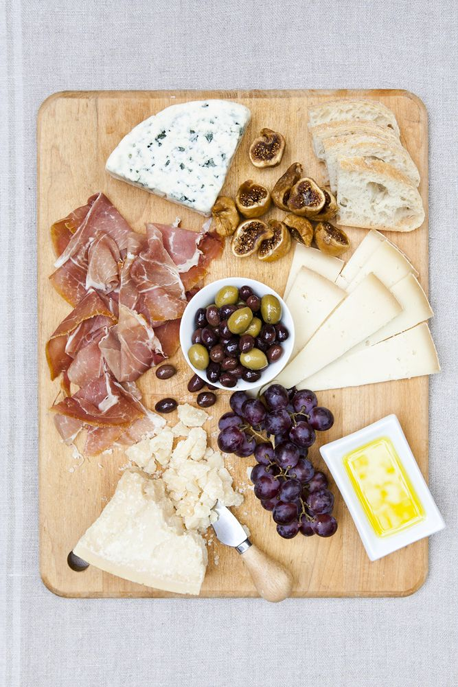 """A French cheese platter with nuts and """"jambon cru"""" (prosciutto)... because I can't face winter without these..."""