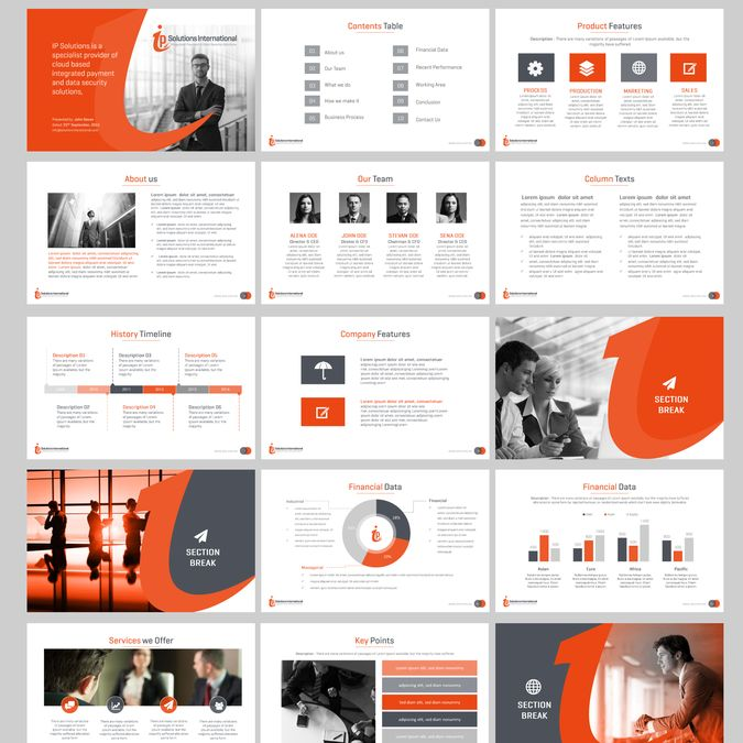 Create a clean modern PowerPoint Template for IP Solutions International by…