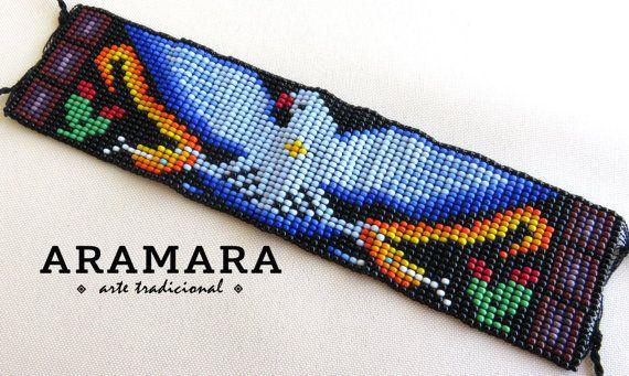 Perline di messicano Huichol Loom Beaded Eagle Bracciale PT-0042 Huichol arte - messicano Bracciale - messicano gioielli - Bracciale Huichol - Huichol