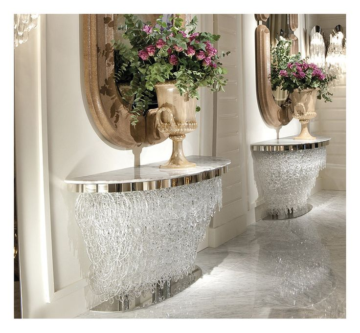 High Quality A Rare Designer Collection Of Italian Murano Glass Console Tables Pictured  With Marble Table Tops.