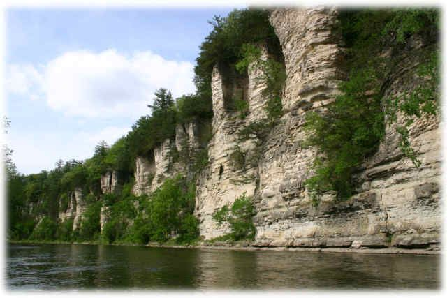 Home.  Bluffton's limestone cliffs. Upper Iowa River was named by National Geographic to be one of the top ten best canoe rivers in America. The river passes through downtown Decorah, Iowa.