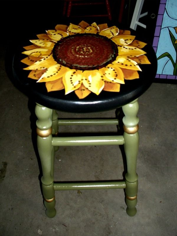 Handpainted sunflower stool