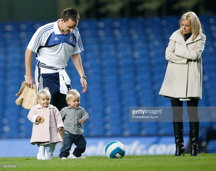 John Terry of Chelsea and his wife Toni Poole with their two young children after the
