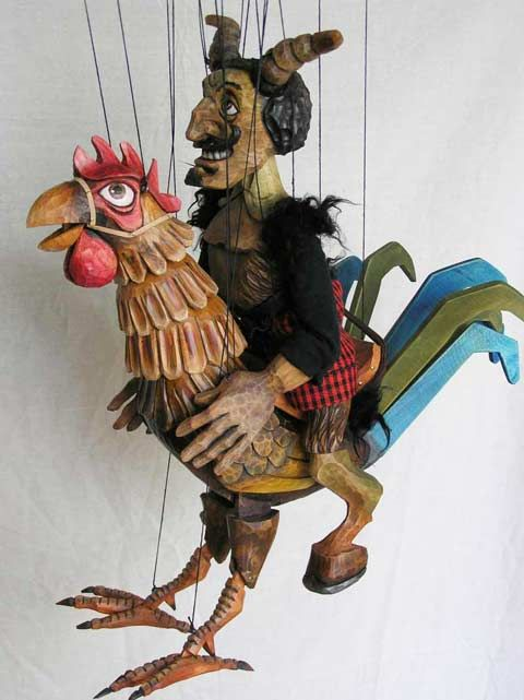 Devil on rooster ,  Czech marionette puppet