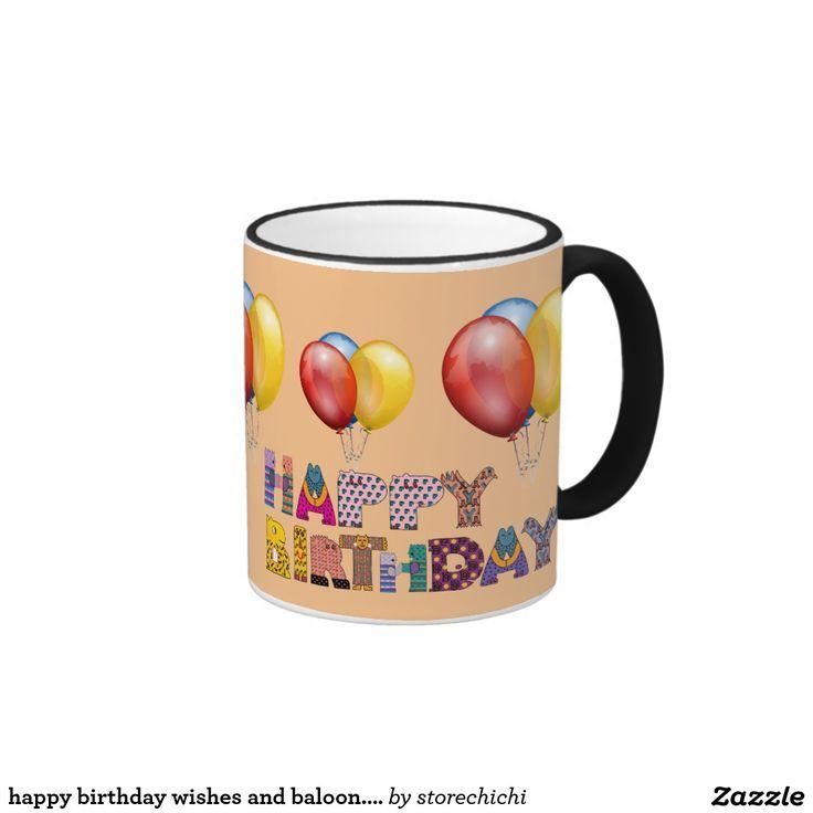 happy birthday wishes and baloon. orange