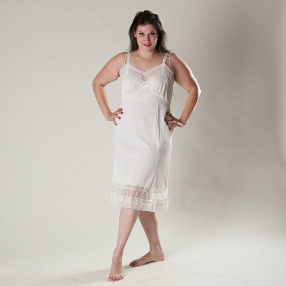 vintage 1950s lingerie white full slip nightie nwt plus size