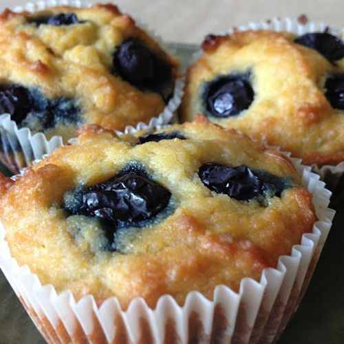 Paleo Blueberry Lemon Muffins- uses coconut flour. maple syrup though...