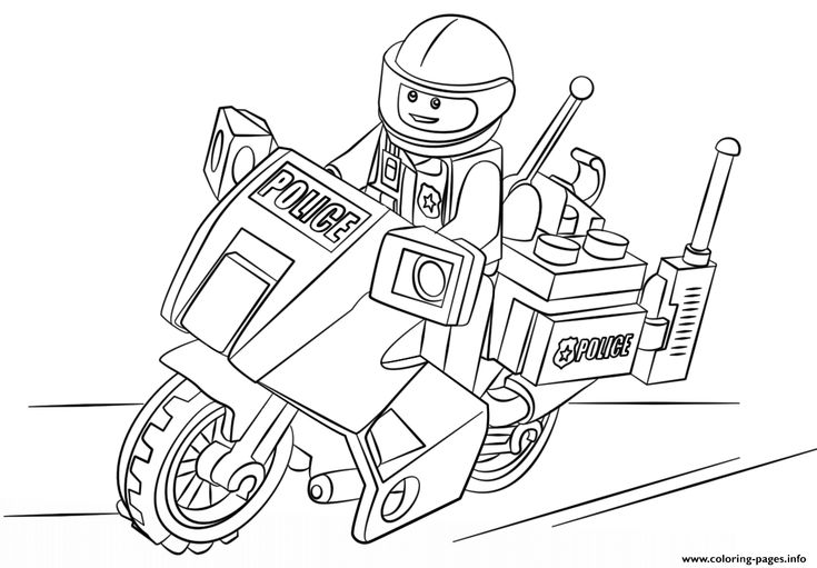 Free Download lego moto police car coloring pages Printable