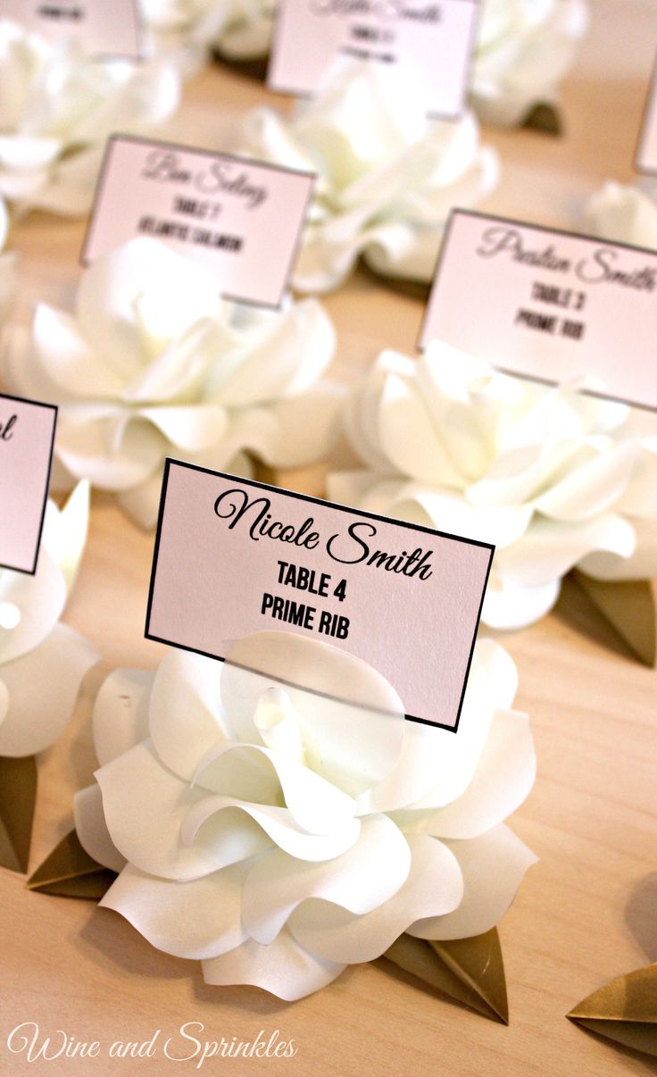 printable wedding place cards vintage%0A Vellum Paper Rose Escort Card Holders